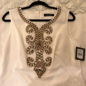 Ellen Tracy White Beaded Dress
